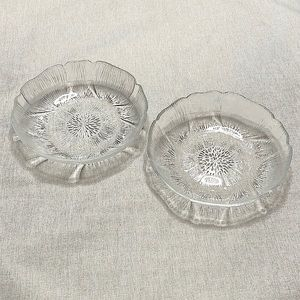 VINTAGE Two Glass Flower Candy Candle Dishes (2)